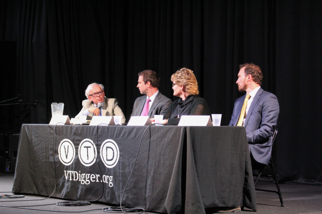 VTDigger's Mark Johnson hosts a panel with (left to right) Senate leader Tim Ashe, Rep. Sarah Copeland-Hanzas and Deputy Natural Resource Secretary Peter Walke.